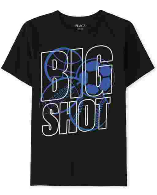 Boys Short Sleeve 'Big Shot' Sports Graphic Tee