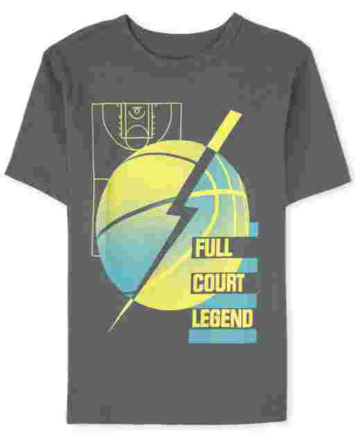 Boys Short Sleeve 'Full Court Legend' Basketball Graphic Tee