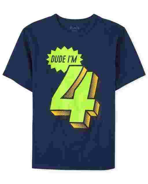 Boys Birthday Short Sleeve 'Dude I'm 4' Graphic Tee