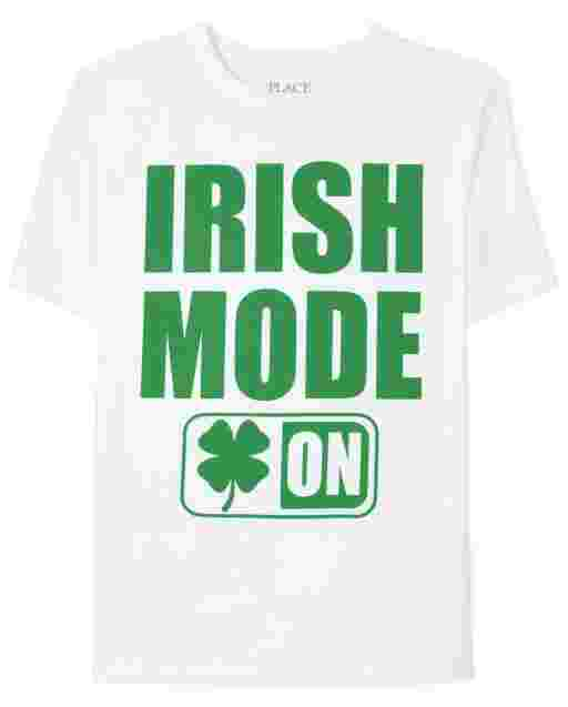 Boys St. Patrick's Day Short Sleeve 'Irish Mode On' Graphic Tee