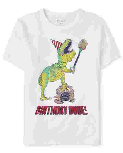 Boys Birthday Short Sleeve 'Birthday Dude' Dino Graphic Tee