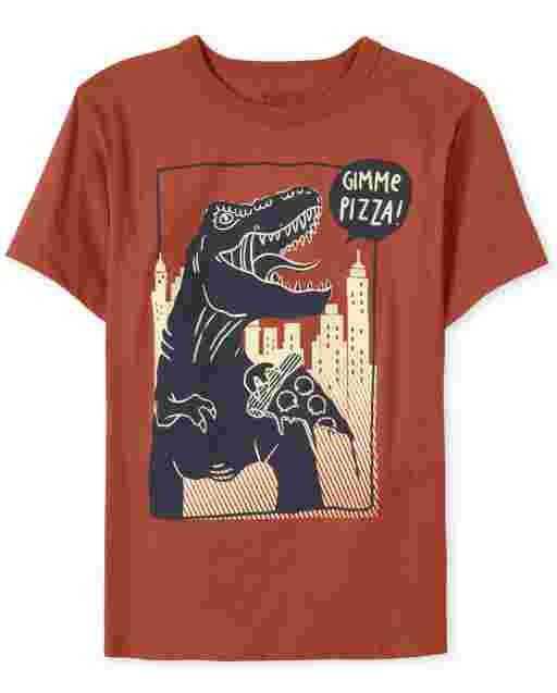 Boys Short Sleeve Dino 'Gimme Pizza' Graphic Tee