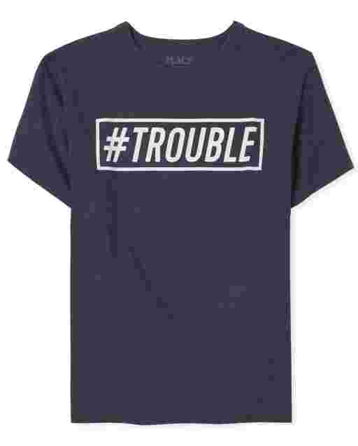 Boys Dad And Me Short Sleeve 'Hashtag Trouble' Graphic Tee