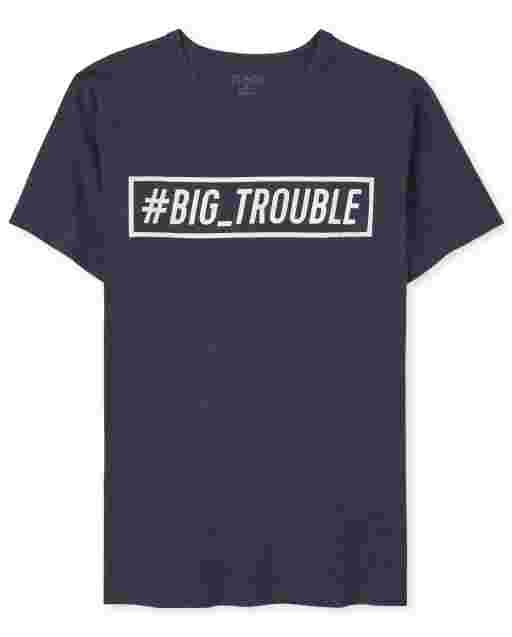 Mens Dad And Me Short Sleeve 'Hashtag Trouble' Graphic Tee