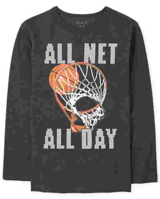 Boys Long Sleeve 'All Net All Day' Basketball Graphic Tee
