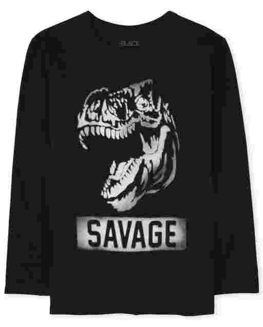 Boys Long Sleeve Dino 'Savage' Graphic Tee
