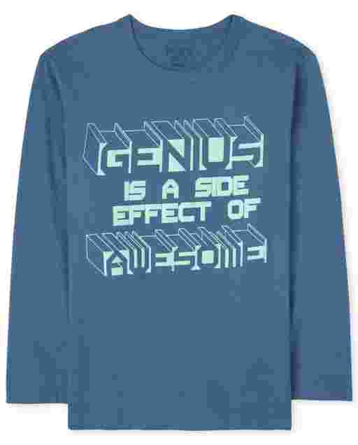 Boys Long Sleeve 'Genius Is A Side Effect Of Awesome' Graphic Tee
