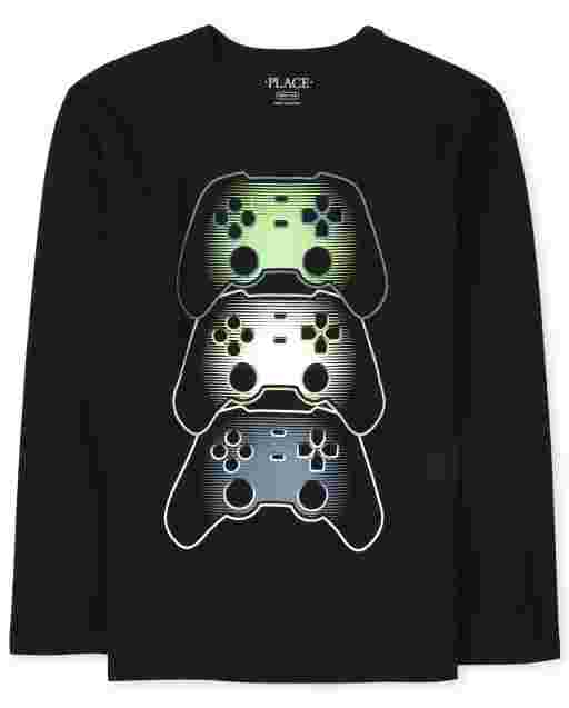 Boys Long Sleeve Video Game Graphic Tee
