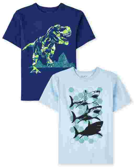 Boys Short Sleeve Dino And Shark Graphic Tee 2-Pack