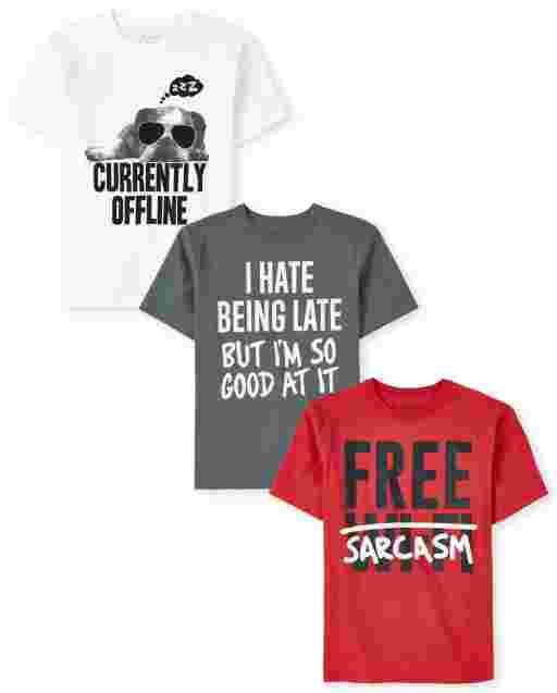 Boys Short Sleeve Humor Graphic Tee 3-Pack