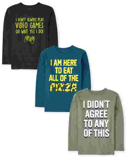 Boys Long Sleeve Humor Graphic Tee 3-Pack