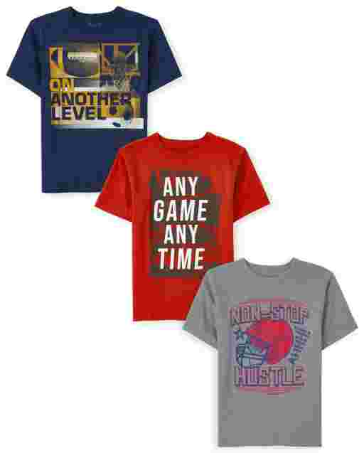Boys Short Sleeve Sports Graphic Tee 3-Pack