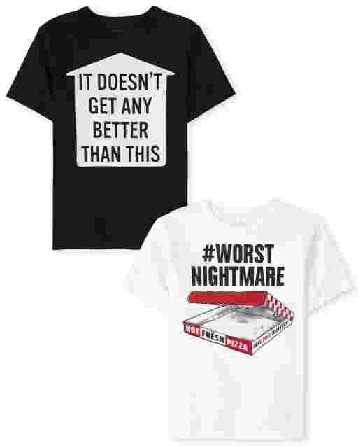 Boys Short Sleeve Humor Graphic Tee 2-Pack