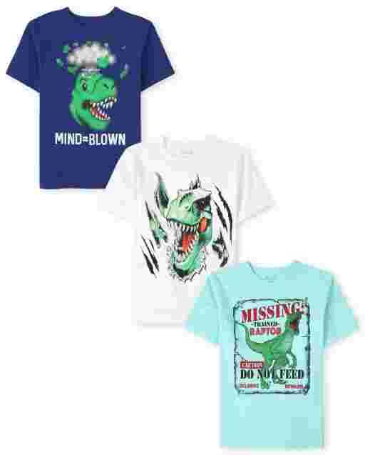 Pack de 3 camisetas de manga corta con gráfico de dinosaurio para niños
