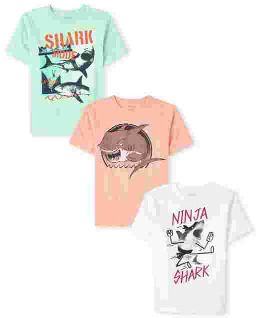 Boys Short Sleeve Shark Graphic Tee 3-Pack