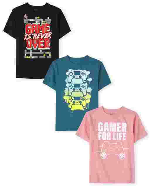 Boys Short Sleeve Video Game Graphic Tee 3-Pack