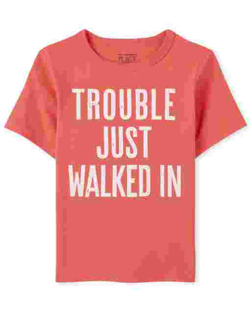 Baby And Toddler Boys Short Sleeve 'Trouble Just Walked In' Graphic Tee