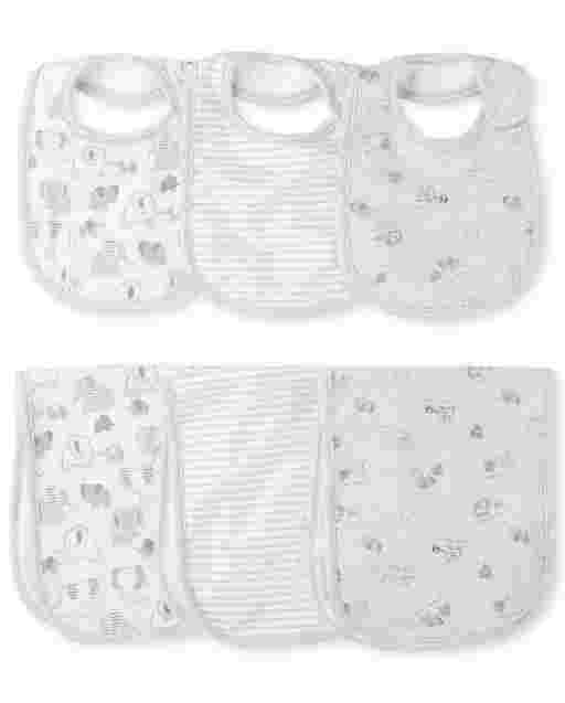 Unisex Baby Elephant Bib And Burp Cloth 6-Piece Set