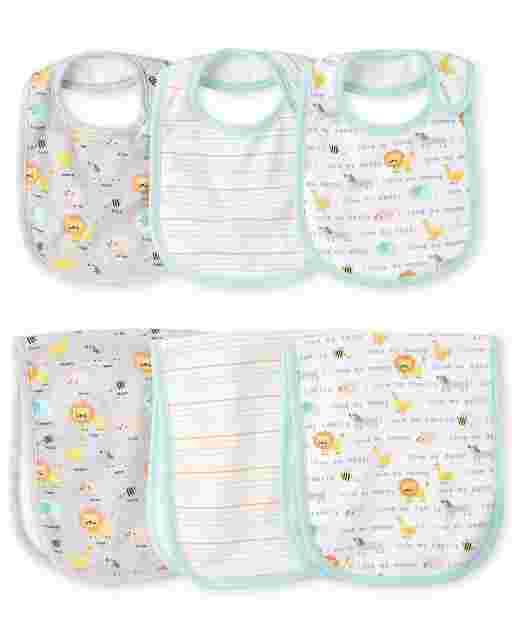 Baby Boys Animals Bib And Burp Cloth 6-Piece Set