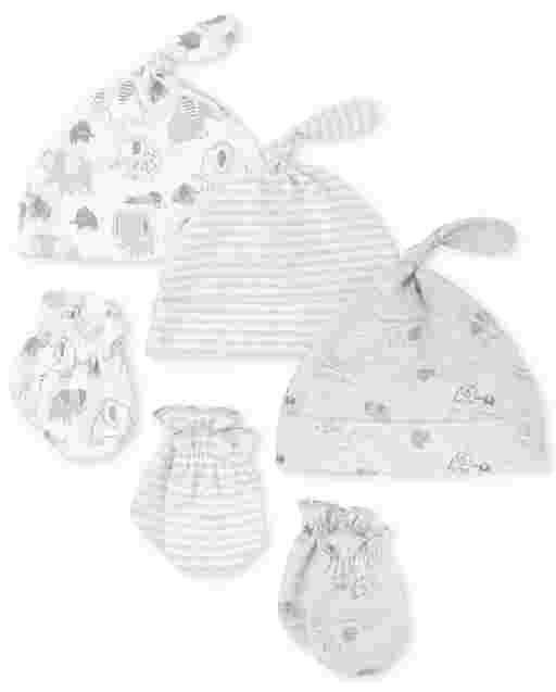 Unisex Baby Elephant Knotted Hat And Mittens 6-Piece Set