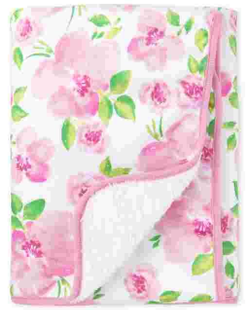 Baby Girls Rose Print Cozy Blanket