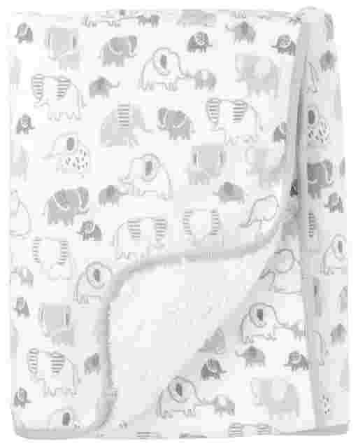Unisex Baby Elephant Print Cozy Blanket