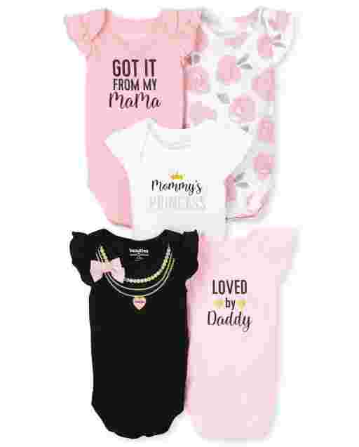 Baby Girls Short Flutter Sleeve Bodysuit 5-Pack