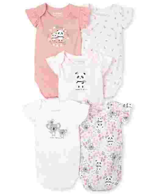 Baby Girls Short Flutter Sleeve Panda And Koala Knit Bodysuit 5-Pack