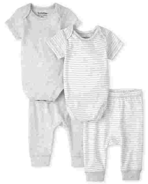 Unisex Baby Short Sleeve Bodysuit And Knit Pants 4-Piece Essentials Set