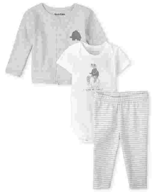 Unisex Baby Short Sleeve Elephant Bodysuit Long Sleeve Cardigan And Striped Knit Pants 3-Piece Take Me Home Set