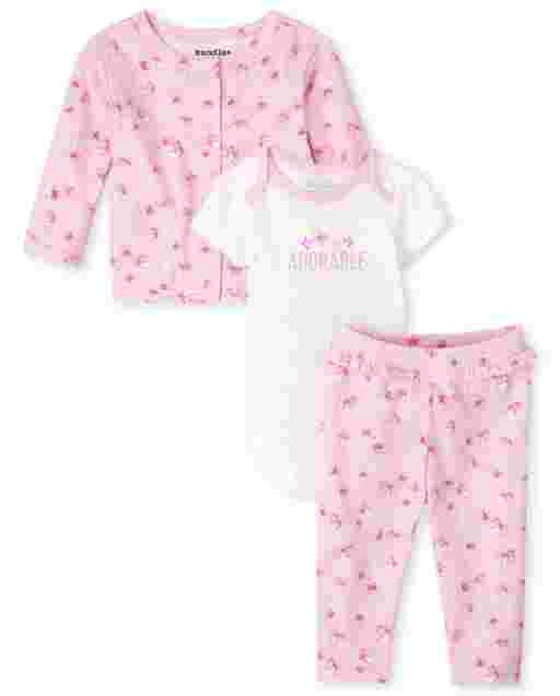 Baby Girls Short Sleeve Rose Bodysuit Long Sleeve Rose Print Cardigan And Knit Pants 3-Piece Take Me Home Set