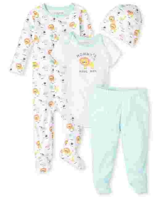 Baby Boys Long Sleeve Animals Print Sleep And Play Short Sleeve Lion Bodysuit Striped Knit Pants And Print Hat 4-Piece Take Me Home Set