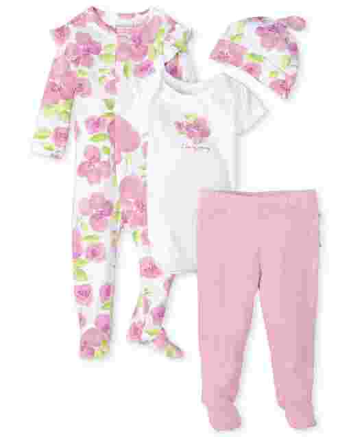 Baby Girls Long Sleeve Rose Print Sleep And Play Short Sleeve Bodysuit Striped Knit Ruffle Pants And Print Knotted Hat 4-Piece Take Me Home Set