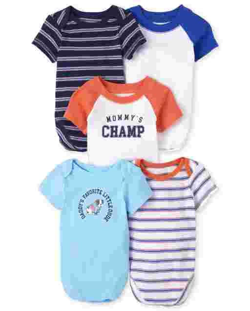 Baby Boys Short Sleeve Champ Bodysuit 5-Pack