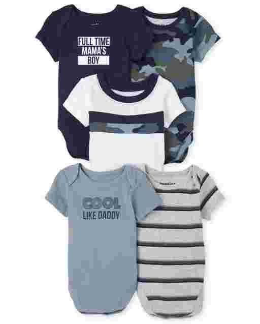 Baby Boys Short Sleeve Camo Bodysuit 5-Pack