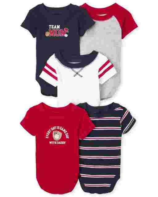 Baby Boys Short Sleeve Varsity Bodysuit 5-Pack
