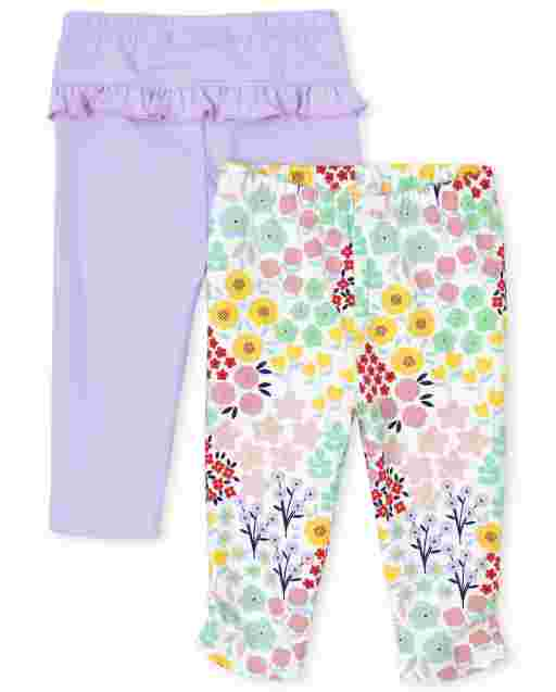 Baby Girls Floral Print And Solid Ruffle Knit Pants 2-Pack