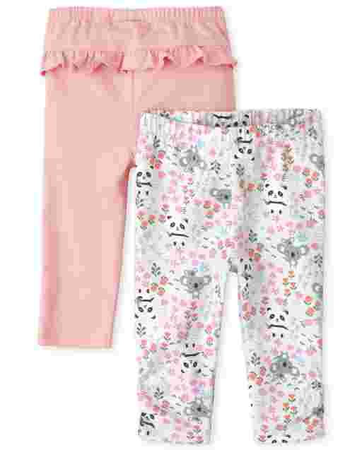 Baby Girls Panda And Ruffle Knit Leggings 2-Pack