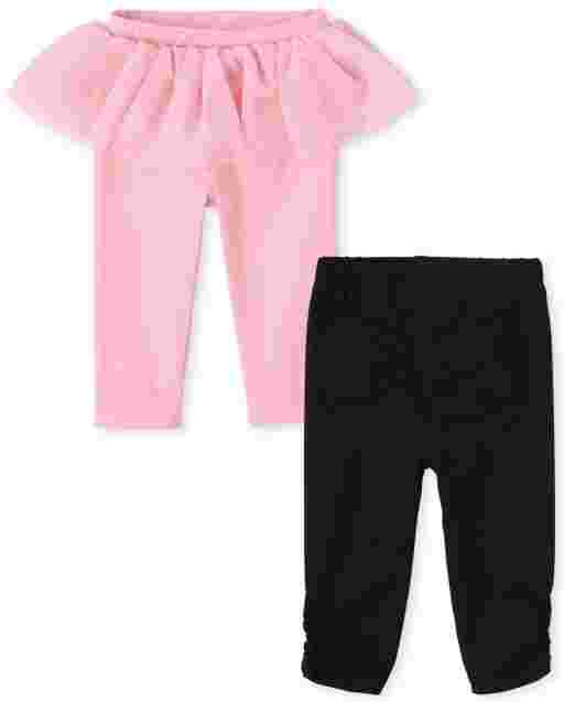 Baby Girls Tutu And Bow Knit Pants 2-Pack