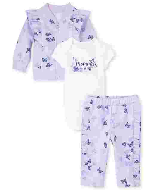 Baby Girls Long Sleeve Floral Print French Terry Zip Up Jacket Short Sleeve 'Mommy's Mini' Bodysuit And Floral Print Knit Ruffle Pants 3-Piece Playwear Set