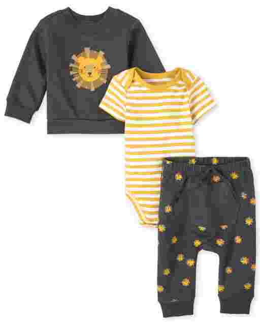 Baby Boys Long Sleeve Lion French Terry Sweatshirt Short Sleeve Striped Bodysuit And Lion Print Knit Pants 3-Piece Playwear Set