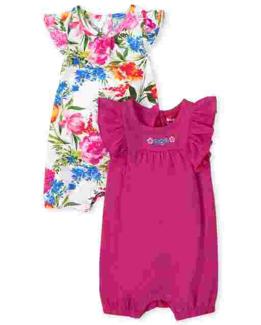 Baby Girls Short Flutter Sleeve Floral Ruffle Romper 2-Pack