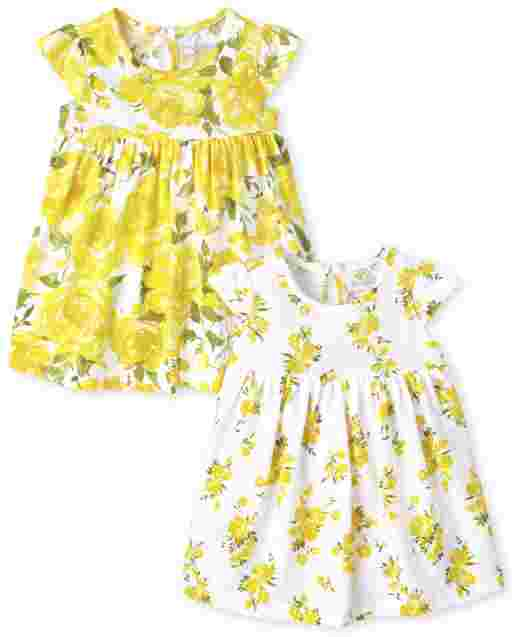 Baby Girls Short Sleeve Floral Bodysuit Dress 2-Pack