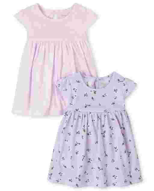 Baby Girls Short Sleeve Floral And Striped Bodysuit Dress 2-Pack