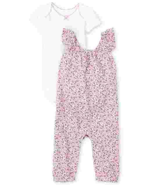 Baby Girls Sleeveless Floral Print Jumpsuit And Short Sleeve Bodysuit 2-Piece Playwear Set