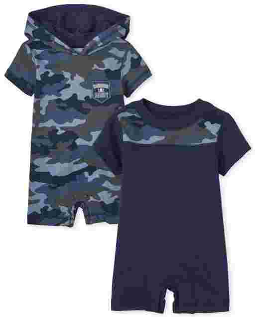 Baby Boys Short Sleeve Camo Romper 2-Pack