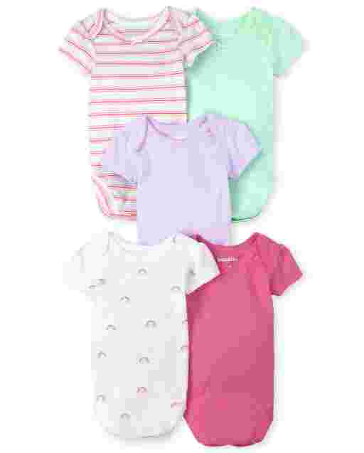 Baby Girls Short Sleeve Rainbow Bodysuit 5-Pack