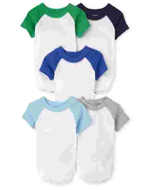 Baby Boys Essential Short Sleeve Raglan Bodysuit 5-Pack