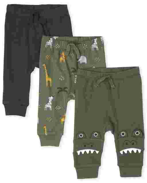 Baby Boys Alligator Safari Print And Solid Knit Pants 3-Pack