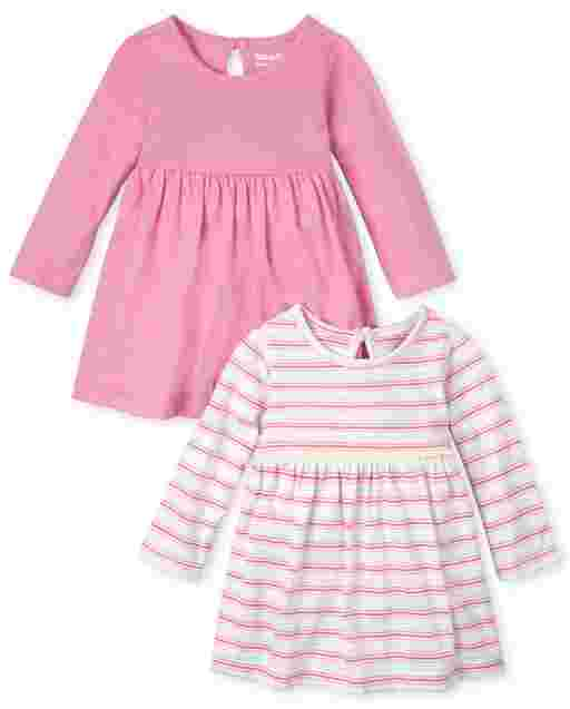 Paquete de 2 vestidos de body de manga corta con rayas arcoíris y lisos para bebé niña